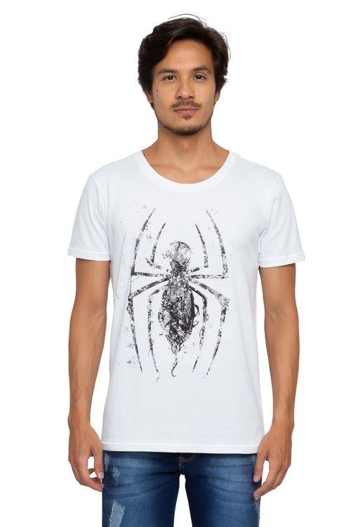 Camiseta Masculina Estampada Spider Branca