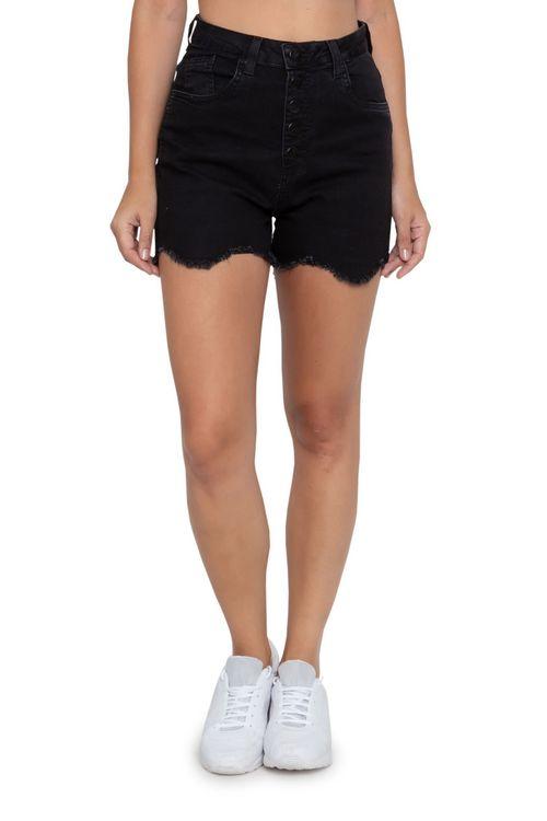 Shorts Feminino Jeans Hot Pants Desfiado Preto