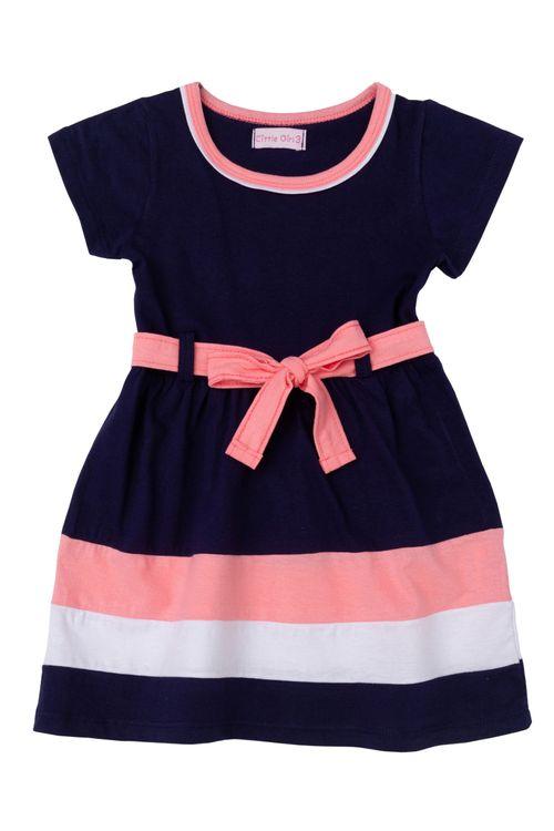 Vestido Infantil Feminino Recortes Marinho