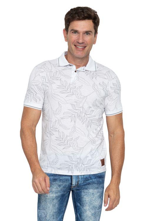 Polo Masculina Floral Print Branca