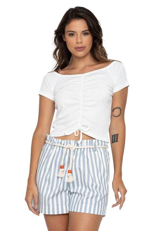 Blusa Feminina com Amarração Frontal Off-White
