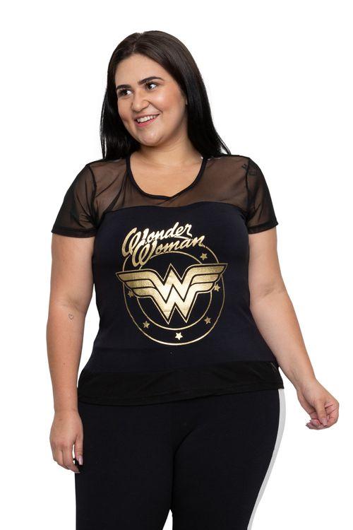 Blusa Feminina Wonder Woman Preta Feita Pra Mim