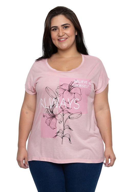 Blusa Feminina Estampada Flores Rosa Feita Pra Mim