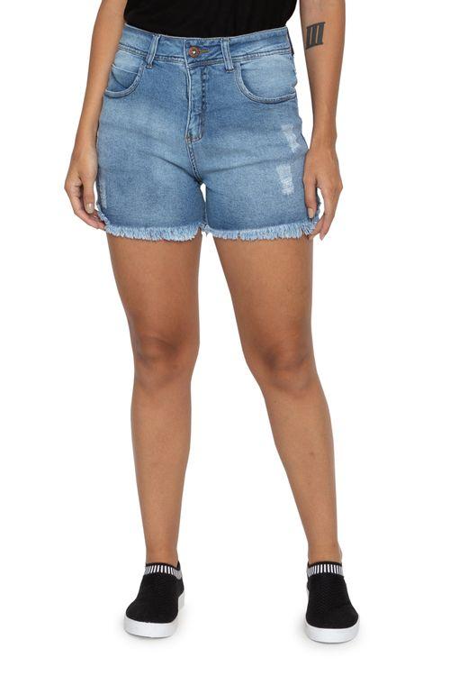Shorts Jeans Feminino Desfiado Cintura Alta