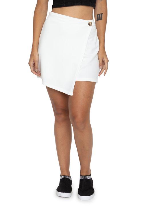 Short Saia Feminino Crepe Irregular Branco