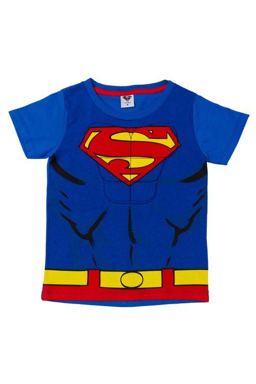 Camiseta Infantil Masculina Músculos Super-Homem Azul