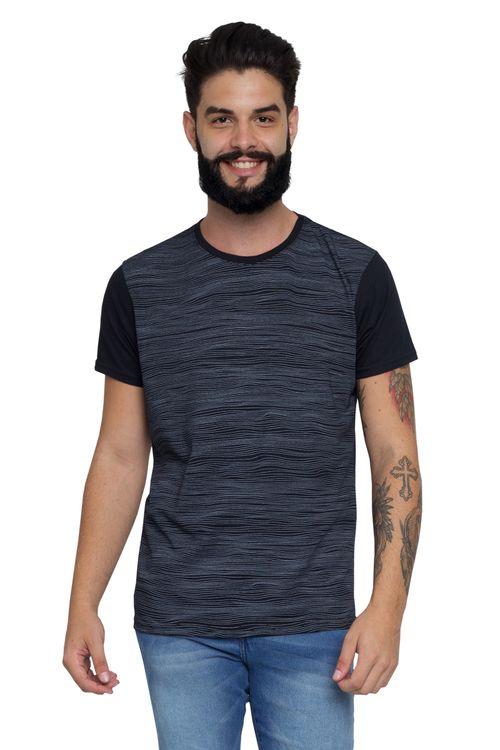 Camiseta Masculina Estampada Mini Ondas Preta