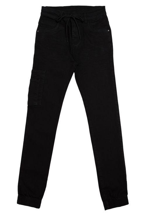 Calça Jeans Infantil Masculina Jogger Preta