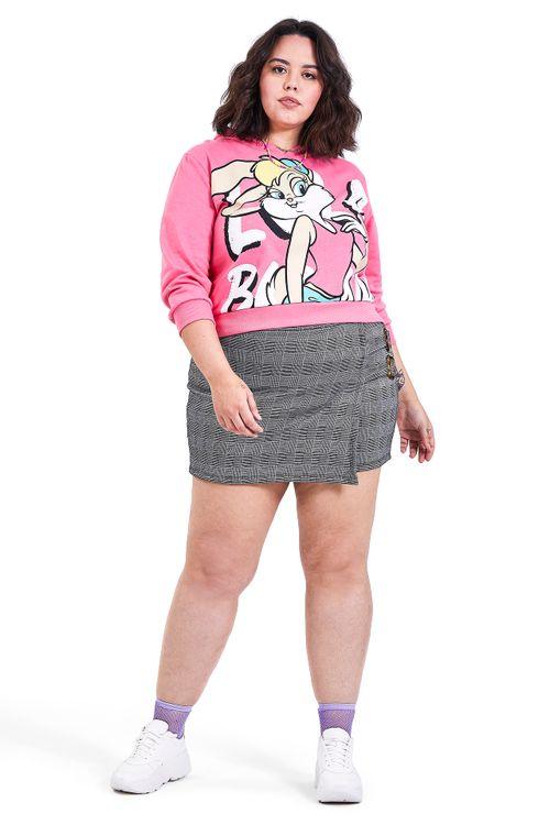 Blusão Feminino de Moletom Rosa estampa Lola Feita Pra Mim