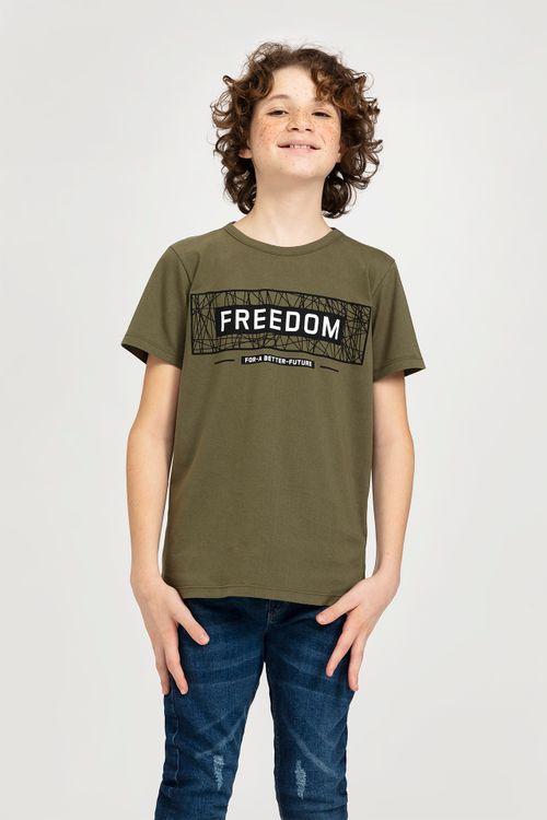Camiseta Juvenil Masculina Freedom Verde