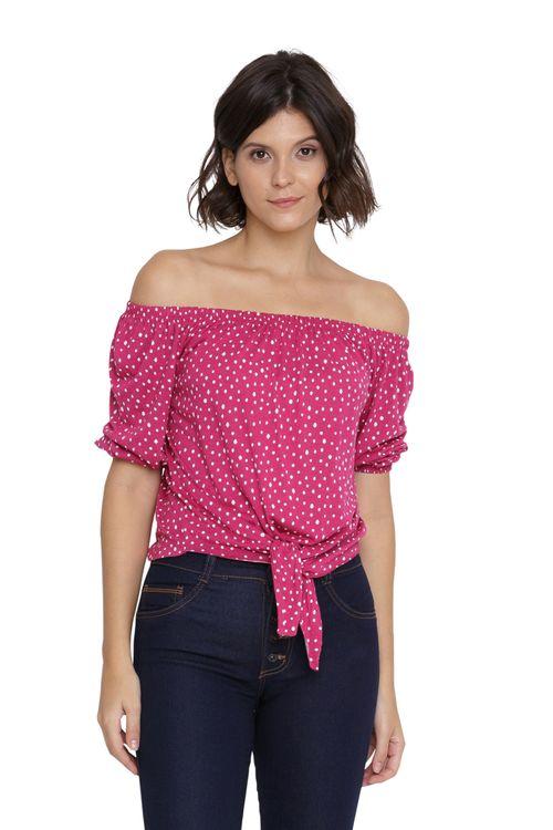 Blusa Feminina Ombro a Ombro Rosa e Bolinha Branca