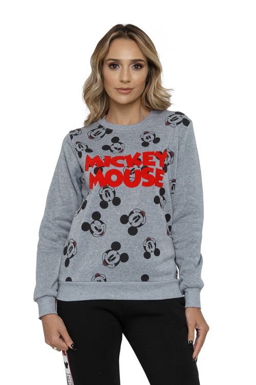 Blusão Feminino de Moletom  Estampa Mickey Full Print Mescla