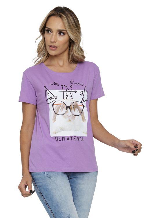 Camiseta Feminina com Estampa Coelho Lilás