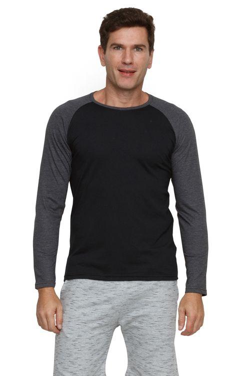 Camiseta Masculina Manga Longa Raglan Preta
