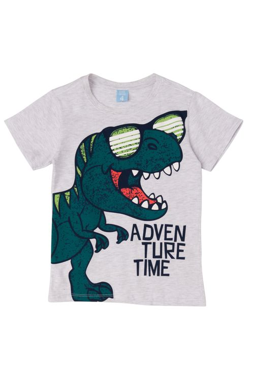 Camiseta Infantil Masculina Dinossauro Branca