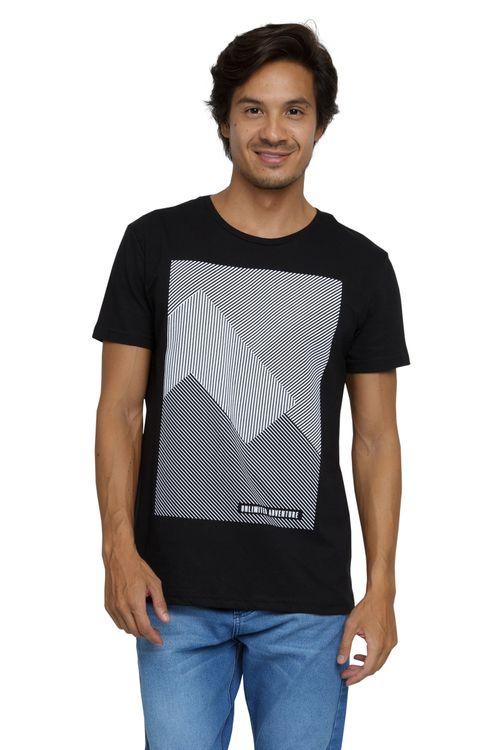 Camiseta Masculina Estampa Geométrica Preta