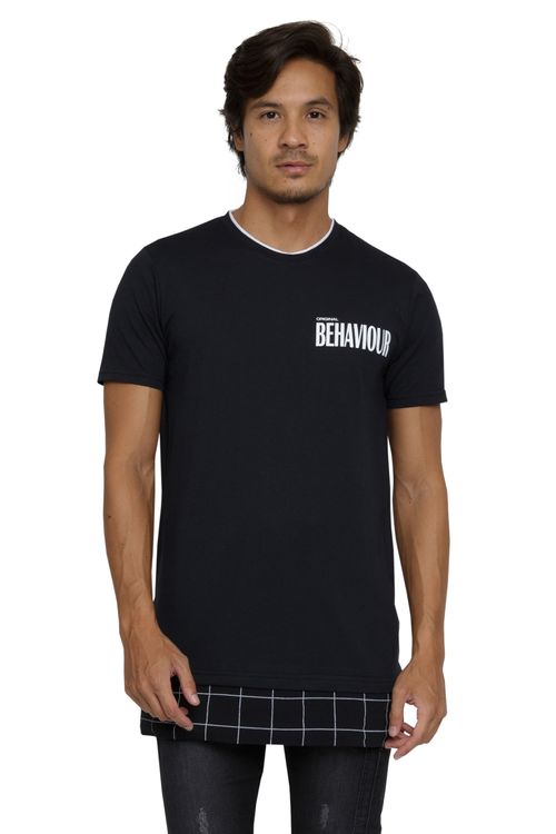 Camiseta Masculina Alongada Barra Dupla Preta