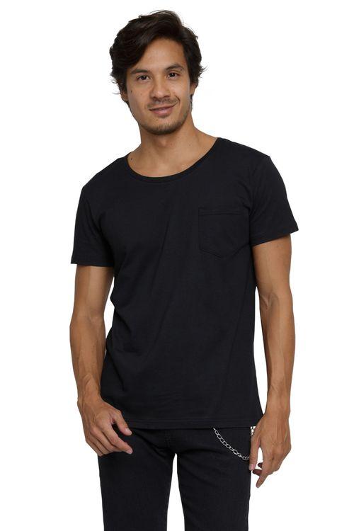 Camiseta Masculina Básica com Bolso Preta