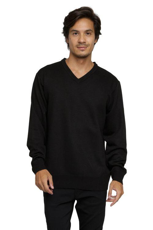 Suéter Masculino Básico Decote V Preto