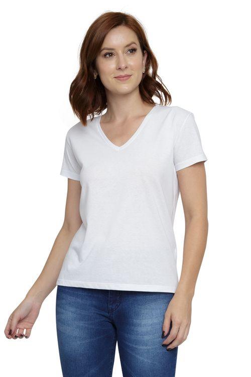 Blusa Feminina Básica Decote V Branca