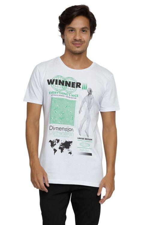 Camiseta Masculina Estampa Winner Branca
