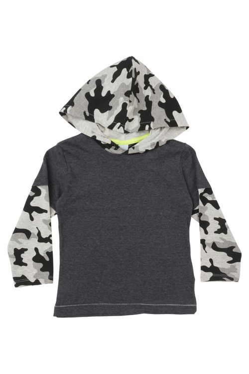Camiseta Infantil Masculina Cinza com Capuz Camuflado