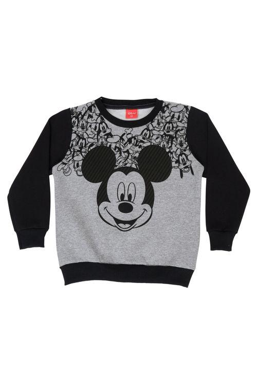 Moletom Masculino Infantil Bicolor com Estampa Mickey