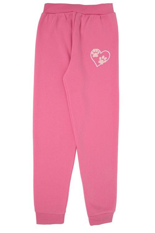 Calça de Moletom Feminino Infantil Pink com Estampa Patinhas Marie
