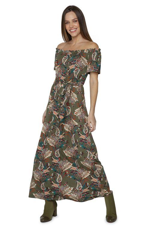 Vestido Longo Feminino Casual Ciganinha Paisley