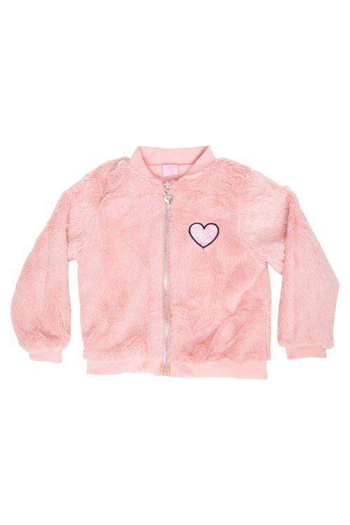 Jaqueta Infantil Rosa Pelinhos