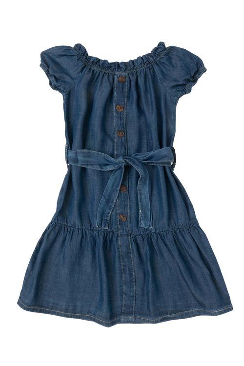 Vestido Infantil Feminino Jeans com Faixa
