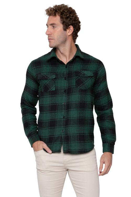 Camiseta Masculina Flanela Xadrez Verde