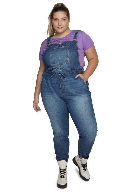 Macacão Feminino Jeans Jogger Feita Pra Mim