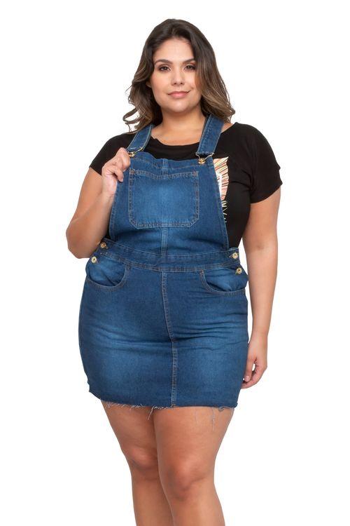 Salopete Feminino Jeans Bolsos Feita Pra Mim